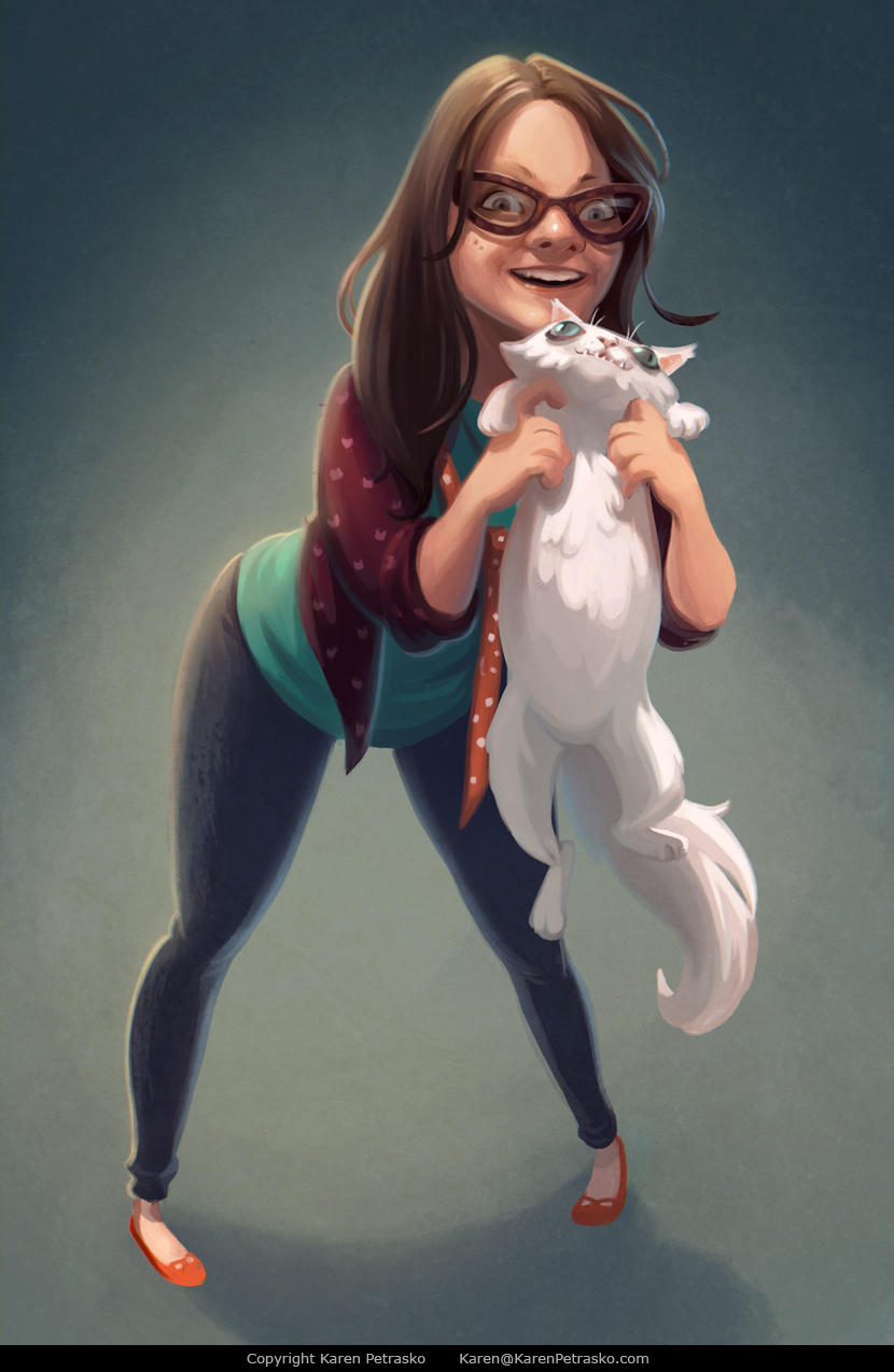 Crazy Cat Lady Self Portrait of Karen Petrasko