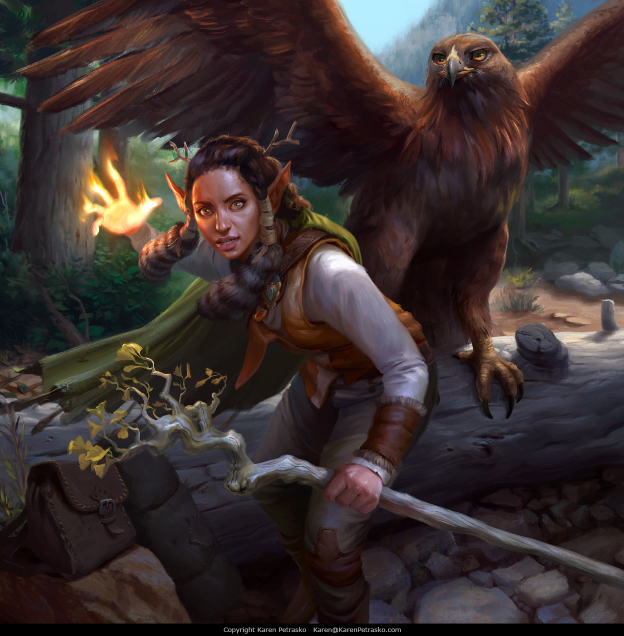 D&D Female Elf Druid casting produce flame with great eagle companion